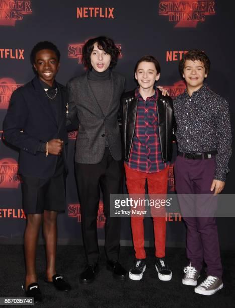 Actors Caleb McLaughlin Finn Wolfhard Noah Schnapp and Gaten Matarazzo arrive at the Premiere Of Netflix's 'Stranger Things' Season 2 at Regency...