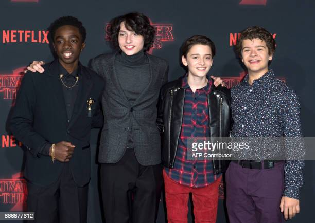 Actors Caleb McLaughlin Finn Wolfhard Noah Schnapp and Gaten Matarazzo attend Netflix's 'Stranger Things 2' premiere on October 26 in Westwood...