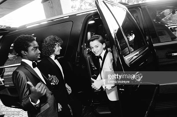 Actors Caleb McLaughlin Gaten Matarazzo and Noah Schnapp attend 'Finn Wolfhard Caleb McLaughlin and Noah Schnapp prepare for the 74th annual Golden...