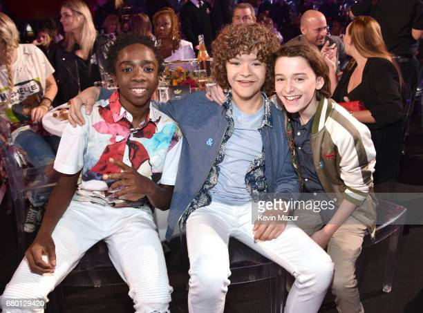 Actors Caleb McLaughlin Gaten Matarazzo and Noah Schnapp attends the 2017 MTV Movie And TV Awards at The Shrine Auditorium on May 7 2017 in Los...