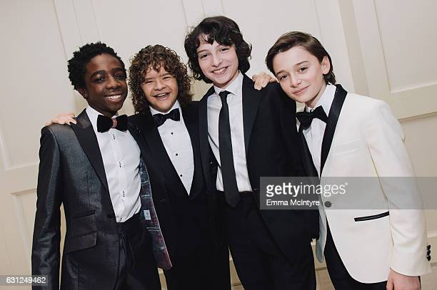Actors Caleb McLaughlin Gaten Matarazzo Finn Wolfhard and Noah Schnapp attend 'Finn Wolfhard Caleb McLaughlin and Noah Schnapp prepare for the 74th...