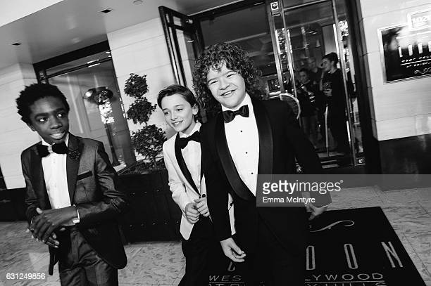 Actors Caleb McLaughlin Noah Schnapp and Gaten Matarazzo attend 'Finn Wolfhard Caleb McLaughlin and Noah Schnapp prepare for the 74th annual Golden...