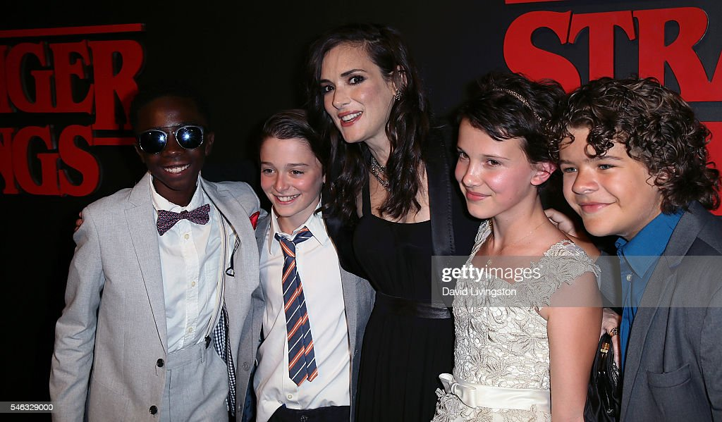 Actors Caleb McLaughlin, Noah Schnapp, Winona Ryder, Millie Bobby Brown and Gaten Matarazzo attend the premiere of Netflix's 'Stranger Things' at Mack Sennett Studios on July 11, 2016 in Los Angeles, California.