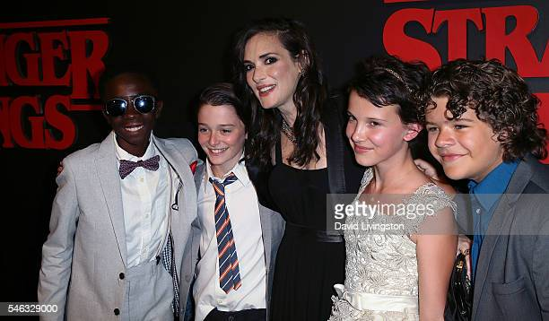 Actors Caleb McLaughlin Noah Schnapp Winona Ryder Millie Bobby Brown and Gaten Matarazzo attend the premiere of Netflix's 'Stranger Things' at Mack...