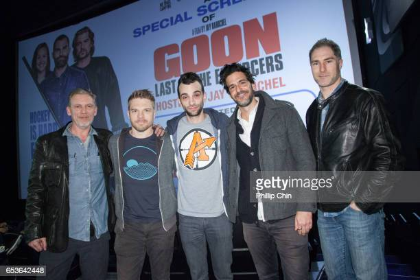 Actors Callum Keith Rennie David Paetkau Director Jay Baruchel Jonathan Cherry and Neil Clark attend a special screening of 'Goon Last of the...