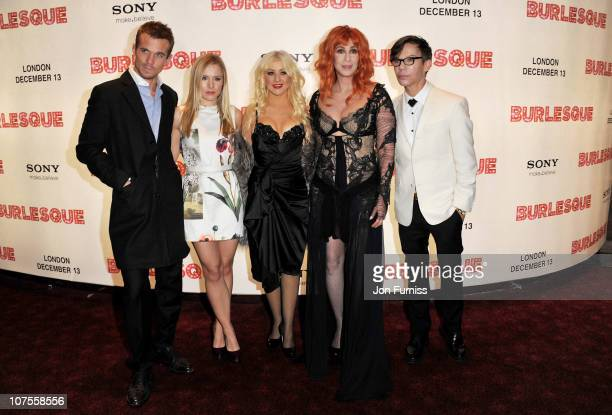Actors Cam Gigandet Kristen Bell Christina Aguilera Cher and Director Steven Antin attend the 'Burlesque' UK premiere at the Empire Leicester Square...