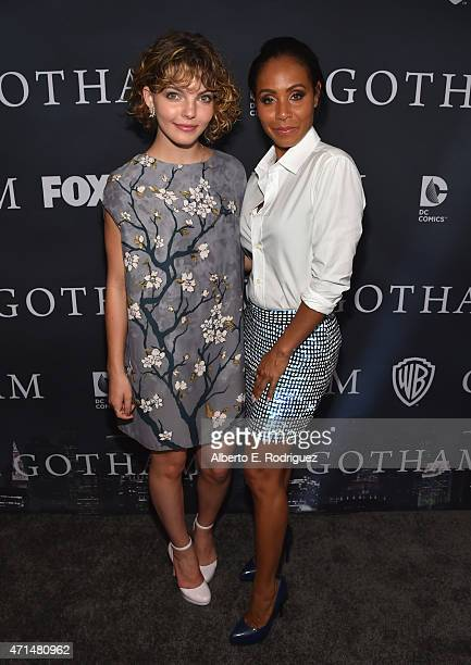 Actors Cameron Bicondova and Jada Pinkett Smith attend Fox's 'Gotham' Season Finale Screening at Landmark Theatre on April 28 2015 in Los Angeles...