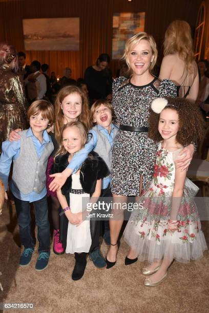 Actors Cameron Crovetti Darby Camp Ivy George Nicholas Crovetti Reese Witherspoon and Chloe Coleman attend the after party of HBO's 'Big Little Lies'...