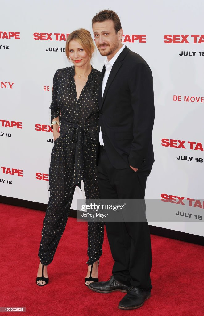 Actors <a gi-track='captionPersonalityLinkClicked' href=/galleries/search?phrase=Cameron+Diaz&family=editorial&specificpeople=201892 ng-click='$event.stopPropagation()'>Cameron Diaz</a> and <a gi-track='captionPersonalityLinkClicked' href=/galleries/search?phrase=Jason+Segel&family=editorial&specificpeople=2220388 ng-click='$event.stopPropagation()'>Jason Segel</a> arrive at the 'Sex Tape' Los Angeles Premiere at Regency Village Theatre on July 10, 2014 in Westwood, California.
