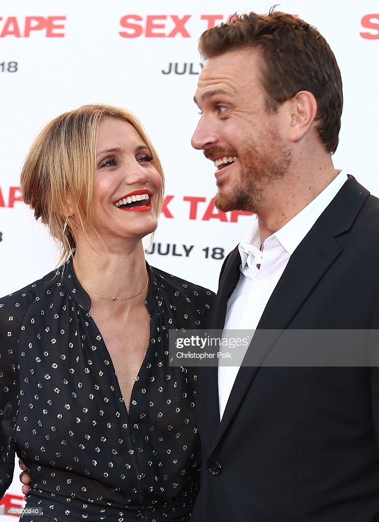 Actors <a gi-track='captionPersonalityLinkClicked' href=/galleries/search?phrase=Cameron+Diaz&family=editorial&specificpeople=201892 ng-click='$event.stopPropagation()'>Cameron Diaz</a> (L) and <a gi-track='captionPersonalityLinkClicked' href=/galleries/search?phrase=Jason+Segel&family=editorial&specificpeople=2220388 ng-click='$event.stopPropagation()'>Jason Segel</a> attend the premiere of Columbia Pictures' 'Sex Tape' at Regency Village Theatre on July 10, 2014 in Westwood, California.