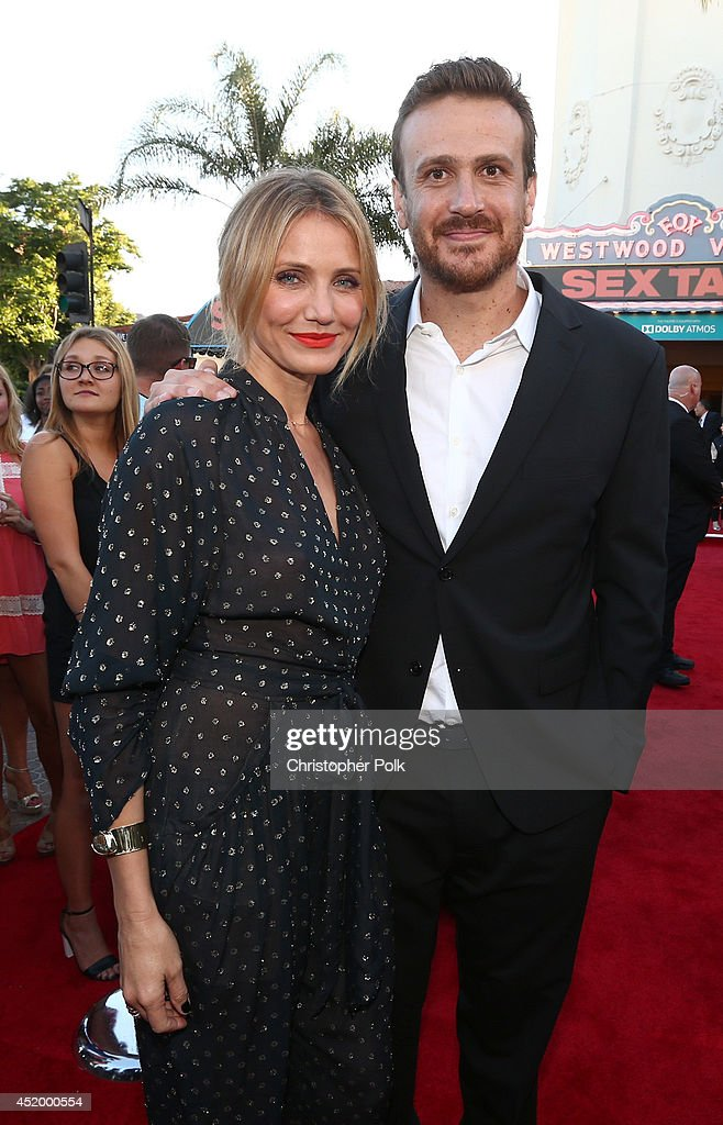 Actors Cameron Diaz (L) and Jason Segel attend the premiere of Columbia Pictures' 'Sex Tape' at Regency Village Theatre on July 10, 2014 in Westwood, California.