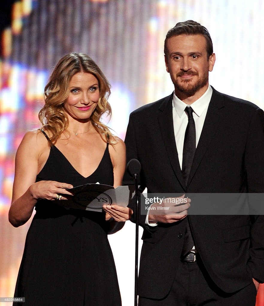 Actors Cameron Diaz (L) and Jason Segel speak onstage during the 2014 ESPYS at Nokia Theatre L.A. Live on July 16, 2014 in Los Angeles, California.