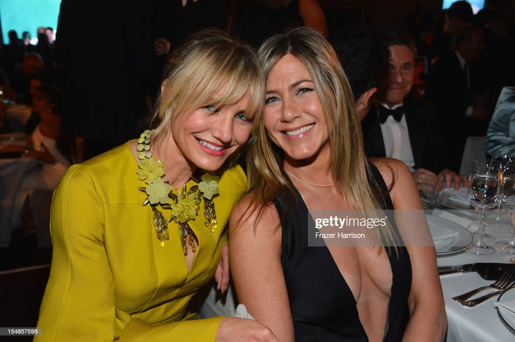 Actors Cameron Diaz and <a gi-track='captionPersonalityLinkClicked' href=/galleries/search?phrase=Jennifer+Aniston&family=editorial&specificpeople=202048 ng-click='$event.stopPropagation()'>Jennifer Aniston</a> attend LACMA 2012 Art + Film Gala Honoring Ed Ruscha and Stanley Kubrick presented by Gucci at LACMA on October 27, 2012 in Los Angeles, California.