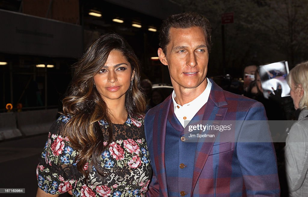Actors <a gi-track='captionPersonalityLinkClicked' href=/galleries/search?phrase=Camila+Alves&family=editorial&specificpeople=4501431 ng-click='$event.stopPropagation()'>Camila Alves</a> and <a gi-track='captionPersonalityLinkClicked' href=/galleries/search?phrase=Matthew+McConaughey&family=editorial&specificpeople=201663 ng-click='$event.stopPropagation()'>Matthew McConaughey</a> attend the Cinema Society with FIJI Water & Levi's screening of 'Mud' at The Museum of Modern Art on April 21, 2013 in New York City.