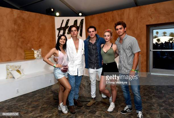 Actors Camila Mendes Cole Sprouse Casey Cott Lili Reinhart and KJ Apa attend HM Loves Coachella Tent during day 1 of the Coachella Valley Music Arts...