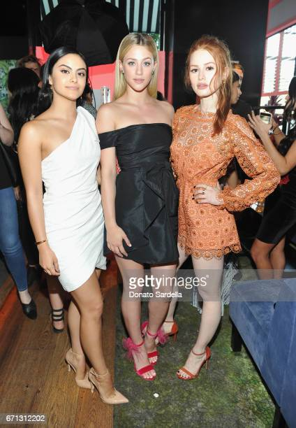 Actors Camila Mendes Lili Reinhart and Madelaine Petsch attend Marie Claire's 'Fresh Faces' celebration with an event sponsored by Maybelline at...