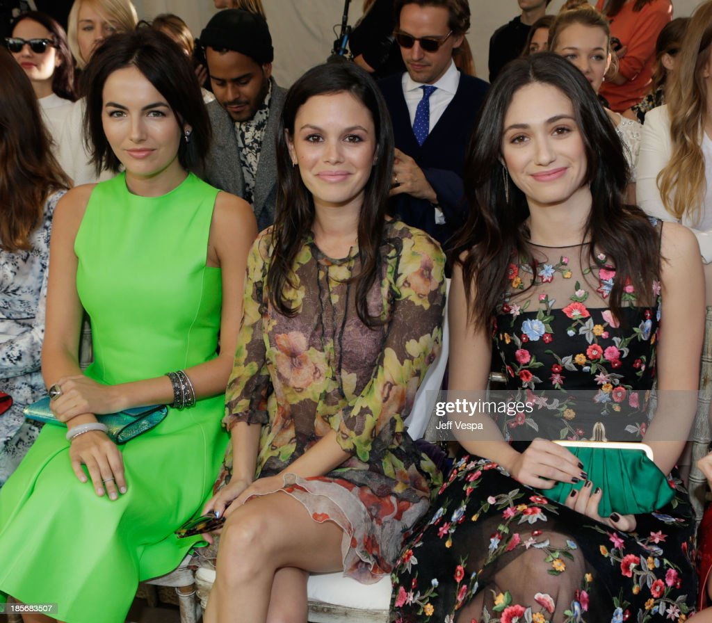 Actors <a gi-track='captionPersonalityLinkClicked' href=/galleries/search?phrase=Camilla+Belle&family=editorial&specificpeople=210585 ng-click='$event.stopPropagation()'>Camilla Belle</a>, <a gi-track='captionPersonalityLinkClicked' href=/galleries/search?phrase=Rachel+Bilson&family=editorial&specificpeople=202655 ng-click='$event.stopPropagation()'>Rachel Bilson</a> and <a gi-track='captionPersonalityLinkClicked' href=/galleries/search?phrase=Emmy+Rossum&family=editorial&specificpeople=202563 ng-click='$event.stopPropagation()'>Emmy Rossum</a> attend the 2013 CFDA/Vogue Fashion Fund Event Presented by thecorner.com and Supported by Audi, Living Proof, and MAC Cosmetics at the Chateau Marmont on October 23, 2013 in Los Angeles, California.