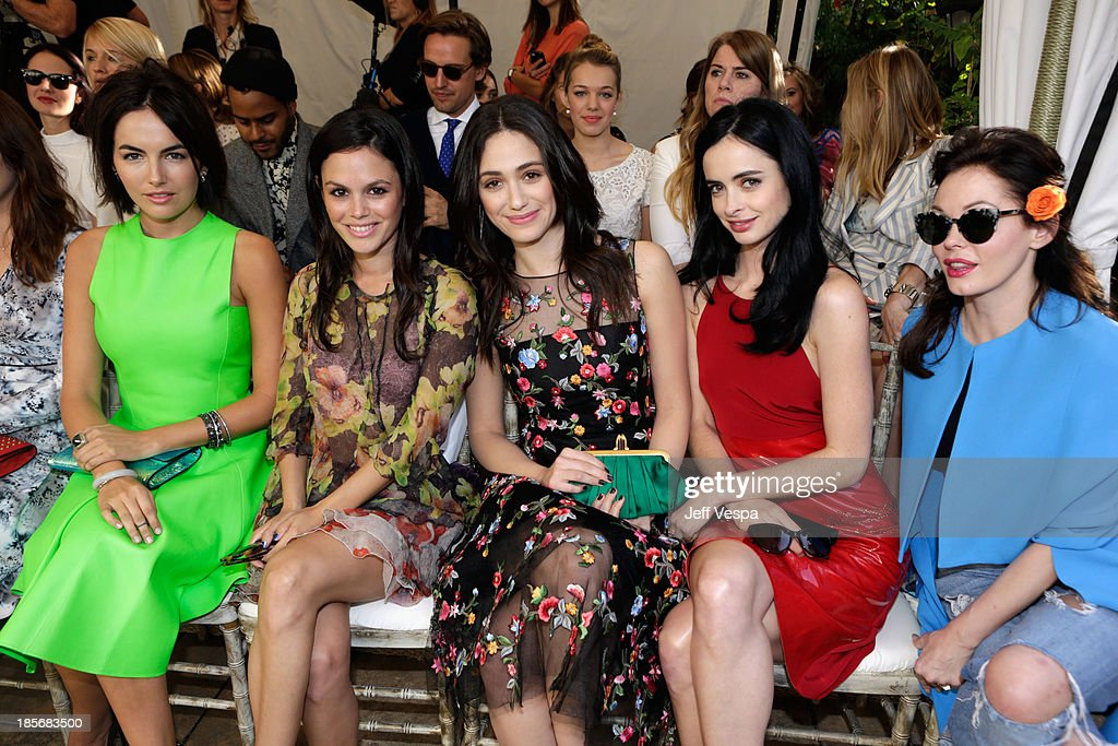 Actors Camilla Belle, Rachel Bilson, Emmy Rossum, Krysten Ritter and Rose McGowan attend the 2013 CFDA/Vogue Fashion Fund Event Presented by thecorner.com and Supported by Audi, Living Proof, and MAC Cosmetics at the Chateau Marmont on October 23, 2013 in Los Angeles, California.