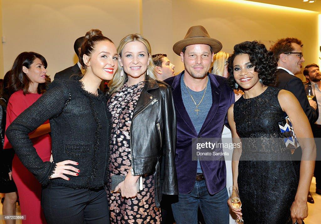 Actors Camilla Luddington Jessica Capshaw Justin Chambers and Kelly McCreary attend 'MaxMara Allure Celebrate ABC's #TGIT' at MaxMara on November 14...