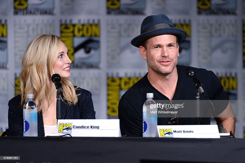 Actors Candice King and Matt Davis attend the 'The Vampire Diaries' panel during ComicCon International 2016 at San Diego Convention Center on July...