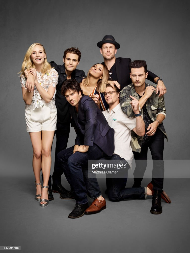 Actors Candice King, Paul Wesley, Ian Somerhalder, Kat Graham, Matt Davis, Zach Roerig and Michael Malarkey from 'The Vampire Diaries' are photographed for Entertainment Weekly Magazine on July 23, 2016 at Comic Con in the Hard Rock Hotel in San Diego, California.
