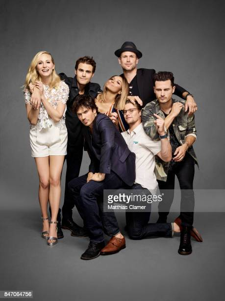 Actors Candice King Paul Wesley Ian Somerhalder Kat Graham Matt Davis Zach Roerig and Michael Malarkey from 'The Vampire Diaries' are photographed...