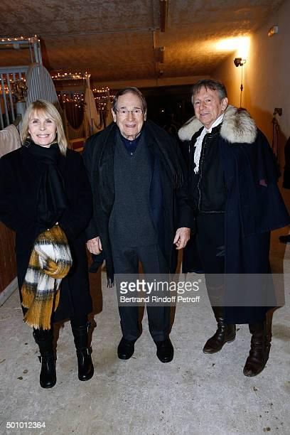 Actors Candice Patou her husband Robert Hossein and Mario Luraschi attend the 'Mario Luraschi's Espace Cavalcade' Opening Night at Ferme De La...