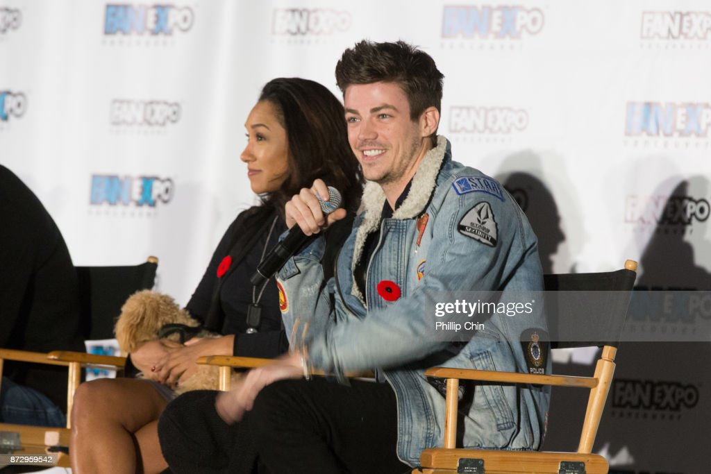 Actors Candice Patton and Grant Gustin attend 'The Flash' Q&A at Fan Expo Vancouver in the Vancouver Convention Centre on November 11, 2017 in Vancouver, Canada.