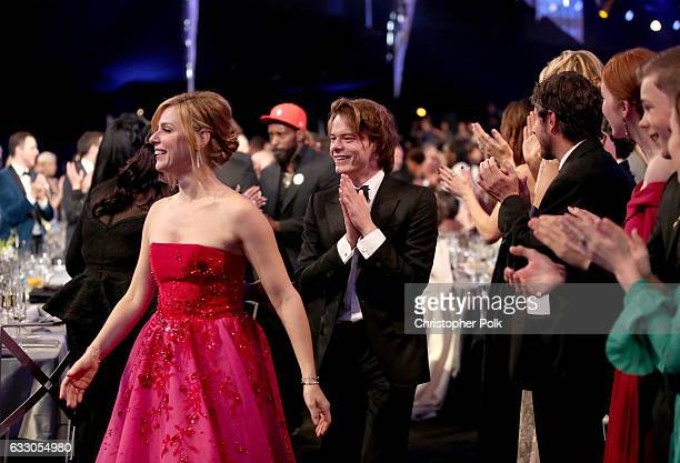 Actors Cara Buono and Charlie Heaton during The 23rd Annual Screen Actors Guild Awards at The Shrine Auditorium on January 29 2017 in Los Angeles...