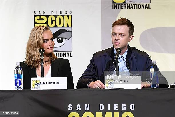 Actors Cara Delevingne and Dane DeHaan attend the 'Valerian And The City Of A Thousand Planets' panel during ComicCon International 2016 at San Diego...