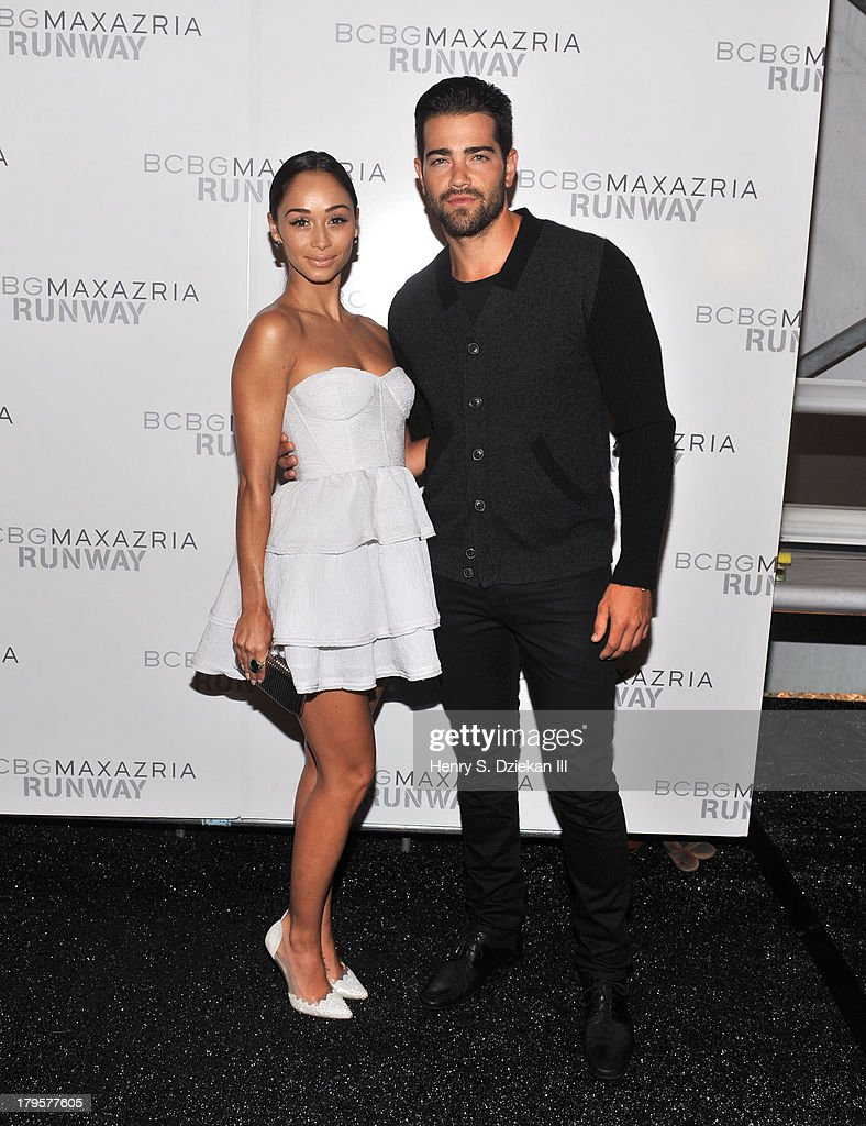 Actors Cara Santana and Jesse Metcalfe pose backstage at the BCBGMAXAZRIA show during Spring 2014 Mercedes-Benz Fashion Week at The Theatre at Lincoln Center on September 5, 2013 in New York City.
