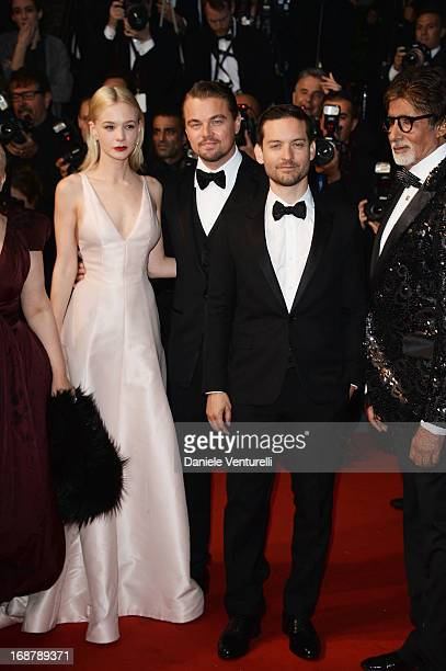 Actors Carey Mulligan Leonardo DiCaprio Tobey Maguire and Amitabh Bachchan attend the Opening Ceremony and premiere of 'The Great Gatsby' during the...