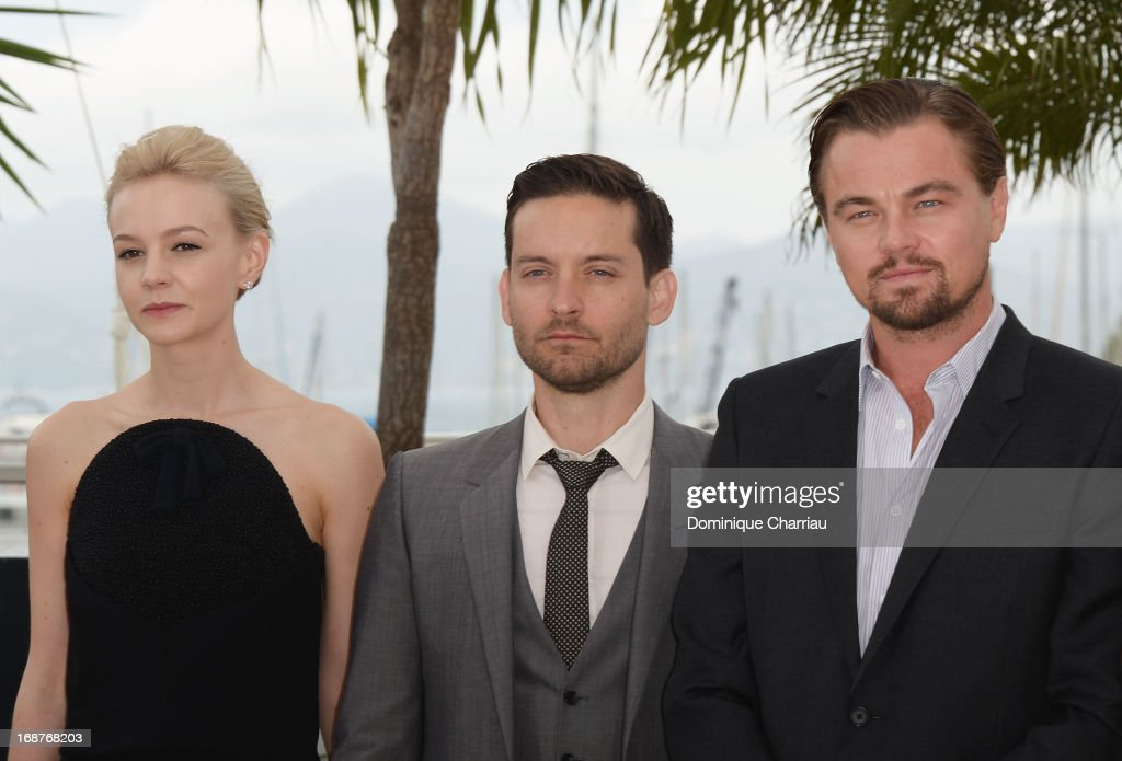 Actors <a gi-track='captionPersonalityLinkClicked' href=/galleries/search?phrase=Carey+Mulligan&family=editorial&specificpeople=2262681 ng-click='$event.stopPropagation()'>Carey Mulligan</a>, <a gi-track='captionPersonalityLinkClicked' href=/galleries/search?phrase=Tobey+Maguire&family=editorial&specificpeople=203015 ng-click='$event.stopPropagation()'>Tobey Maguire</a> and <a gi-track='captionPersonalityLinkClicked' href=/galleries/search?phrase=Leonardo+DiCaprio&family=editorial&specificpeople=201635 ng-click='$event.stopPropagation()'>Leonardo DiCaprio</a> attend the photocall for 'The Great Gatsby' at the 66th Annual Cannes Film Festival at Palais des Festivals on May 15, 2013 in Cannes, France.