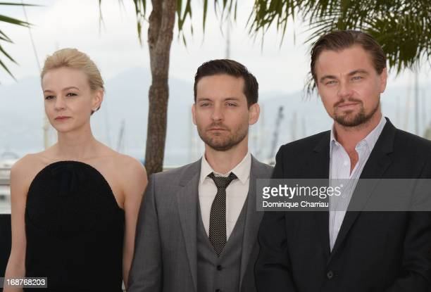 Actors Carey Mulligan Tobey Maguire and Leonardo DiCaprio attend the photocall for 'The Great Gatsby' at the 66th Annual Cannes Film Festival at...