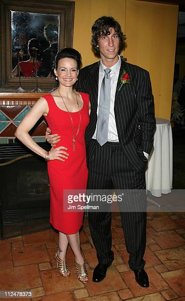 Actors Carla Gugino and Pablo Schreiber attend the opening night party for 'Desire Under The Elms' on Broadway at the Redeye Grill on April 27 2009...