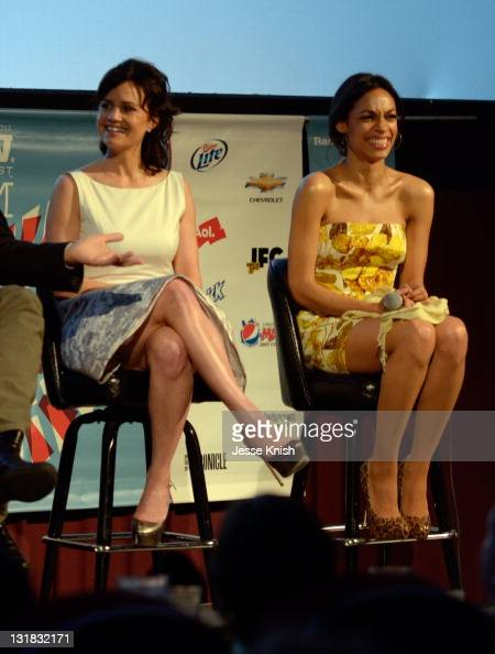 Actors Carla Gugino and Rosario Dawson speak at the 2011 SXSW Music Film Interactive Festival 'Girl Walks Into A Bar' Premiere at Alamo South Lamar...