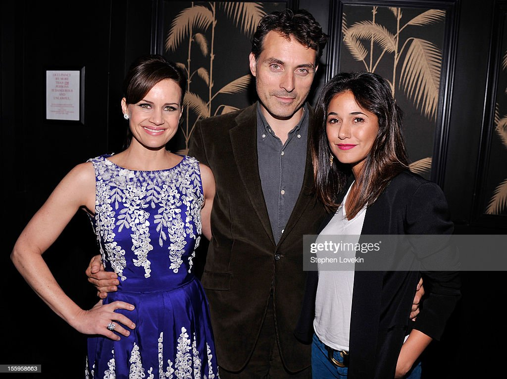 Actors <a gi-track='captionPersonalityLinkClicked' href=/galleries/search?phrase=Carla+Gugino&family=editorial&specificpeople=207137 ng-click='$event.stopPropagation()'>Carla Gugino</a>, <a gi-track='captionPersonalityLinkClicked' href=/galleries/search?phrase=Rufus+Sewell&family=editorial&specificpeople=558279 ng-click='$event.stopPropagation()'>Rufus Sewell</a>, and <a gi-track='captionPersonalityLinkClicked' href=/galleries/search?phrase=Emmanuelle+Chriqui&family=editorial&specificpeople=541098 ng-click='$event.stopPropagation()'>Emmanuelle Chriqui</a> attend the after party for a screening Of 'Hotel Noir' hosted by The Cinema Society and Gato Negro Films at No. 8 on November 9, 2012 in New York City.