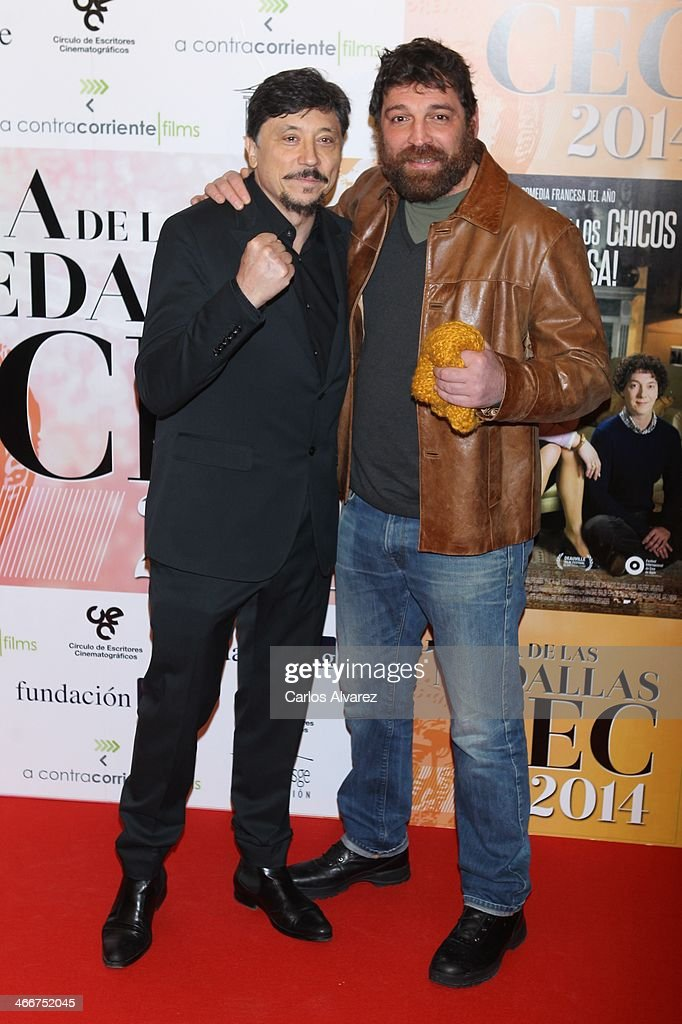 Actors <a gi-track='captionPersonalityLinkClicked' href=/galleries/search?phrase=Carlos+Bardem&family=editorial&specificpeople=3964687 ng-click='$event.stopPropagation()'>Carlos Bardem</a> (L) and Hovik Keuchkerian (R) attend the 'CEC' medals 2014 at the Palafox cinema on February 3, 2014 in Madrid, Spain.