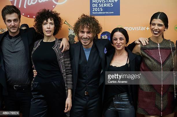 Actors Carlos Gorbe Maru Valdivieso Ruben Ochandiano Natalia Moreno and Julia de Castro attend 'Mucha Mierda' photocall during the 7th FesTVal...