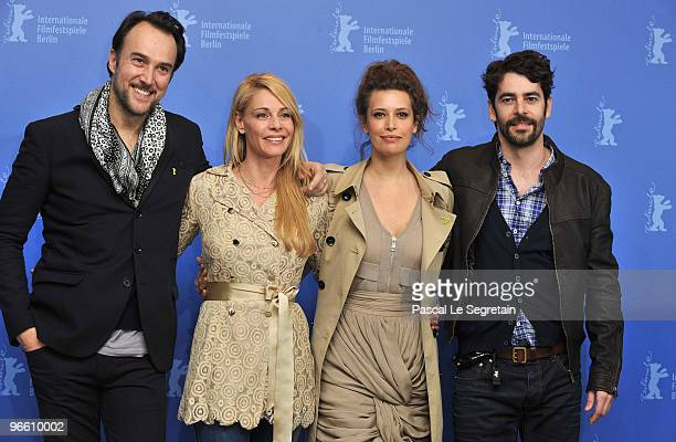 Actors Carlos Leal Belen Rueda Angie Cepeda and Eduardo Noriega attend the 'El Mal Ajeno' Photocall during day two of the 60th Berlin International...