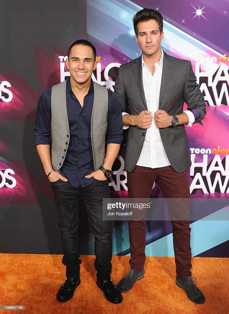 Actors Carlos Pena Jr. (L) and <a gi-track='captionPersonalityLinkClicked' href=/galleries/search?phrase=James+Maslow&family=editorial&specificpeople=6522849 ng-click='$event.stopPropagation()'>James Maslow</a> arrive at the TeenNick HALO Awards at The Hollywood Palladium on November 17, 2012 in Los Angeles, California.