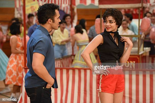 LIVE Actors Carlos PenaVega as Kenickie and Vanessa Hudgens as 'Rizzo' during the dress rehearsal for GREASE LIVE airing LIVE Sunday Jan 31 on FOX
