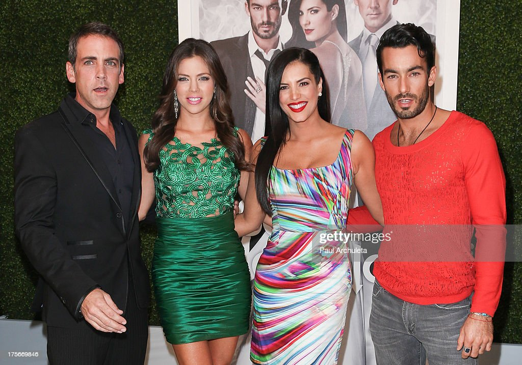 Actors <a gi-track='captionPersonalityLinkClicked' href=/galleries/search?phrase=Carlos+Ponce&family=editorial&specificpeople=215458 ng-click='$event.stopPropagation()'>Carlos Ponce</a>, Ximena Duque, <a gi-track='captionPersonalityLinkClicked' href=/galleries/search?phrase=Gaby+Espino&family=editorial&specificpeople=4233029 ng-click='$event.stopPropagation()'>Gaby Espino</a> and <a gi-track='captionPersonalityLinkClicked' href=/galleries/search?phrase=Aaron+Diaz&family=editorial&specificpeople=4423470 ng-click='$event.stopPropagation()'>Aaron Diaz</a> attend the Telemundo press annoucement for 'Santa Diabla' at the Regent Beverly Wilshire Hotel on August 5, 2013 in Beverly Hills, California.