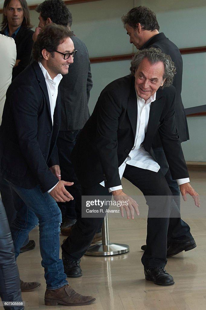 Actors Carlos Santos (L) and Jose Coronado (R) attend 'El Hombre De las Mil Caras' photocall at the Kursaal Palace during 64th San Sebastian International Film Festival on September 17, 2016 in San Sebastian, Spain.