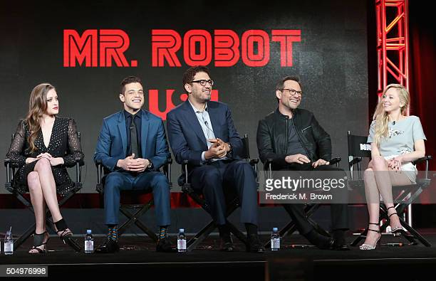 Actors Carly Chaikin and Rami Malek creator/director Sam Esmail actors Christian Slater and Portia Doubleday speak onstage during the 'Mr Robot'...