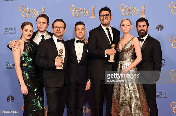 Actors Carly Chaikin Martin Wallstrom Christian Slater and Rami Malek writer/producer Sam Esmail actress Portia Doubleday and producer Chad Hamilton...