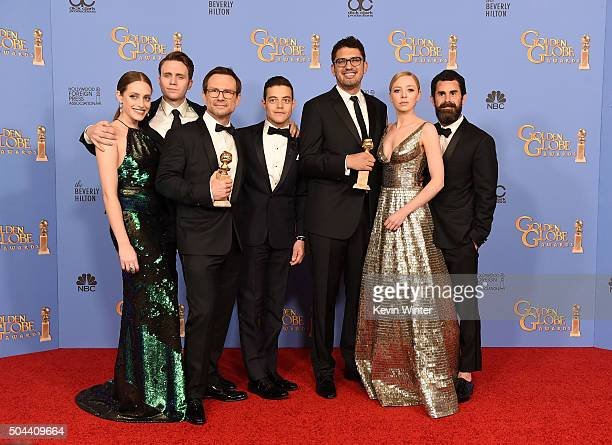 Actors Carly Chaikin Martin Wallstrom Christian Slater and Rami Malek writer/producer Sam Esmail actress Portia Doubleday and producer Chad Hamilton...