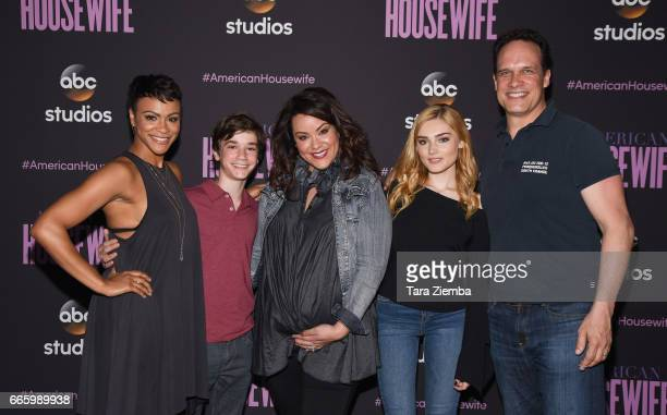 Actors Carly Hughes Daniel DiMaggio Katy Mixon Meg Donnelly and Diedrich Bader attend ABC's 'American Housewife' FYC event at Lucky Strike Bowling...