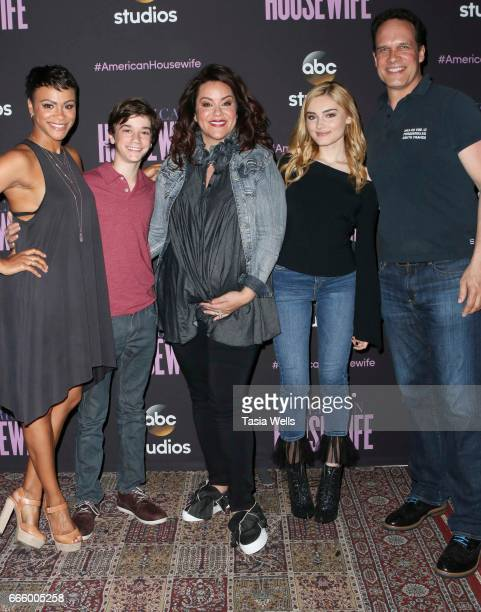 Actors Carly Hughes Daniel DiMaggio Katy Mixon Meg Donnelly and Dedrich Bader attend ABC's 'American Housewife' FYC event at Lucky Strike Bowling...