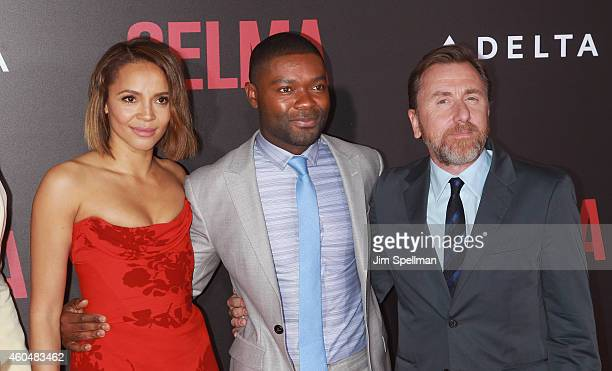 Actors Carmen Ejogo David Oyelowo and Tim Roth attend the 'Selma' New York Premiere at the Ziegfeld Theater on December 14 2014 in New York City